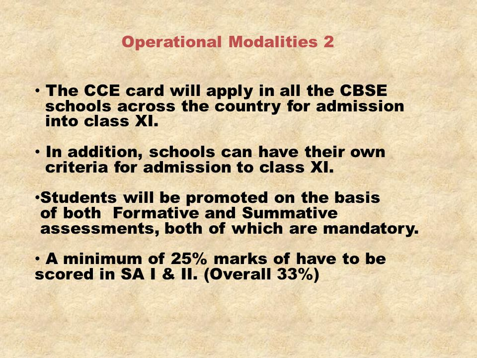 Operational Modalities 2