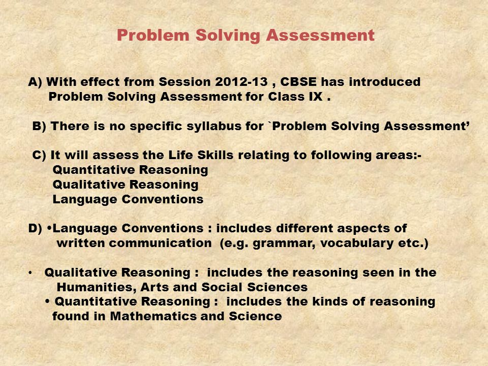 Problem Solving Assessment