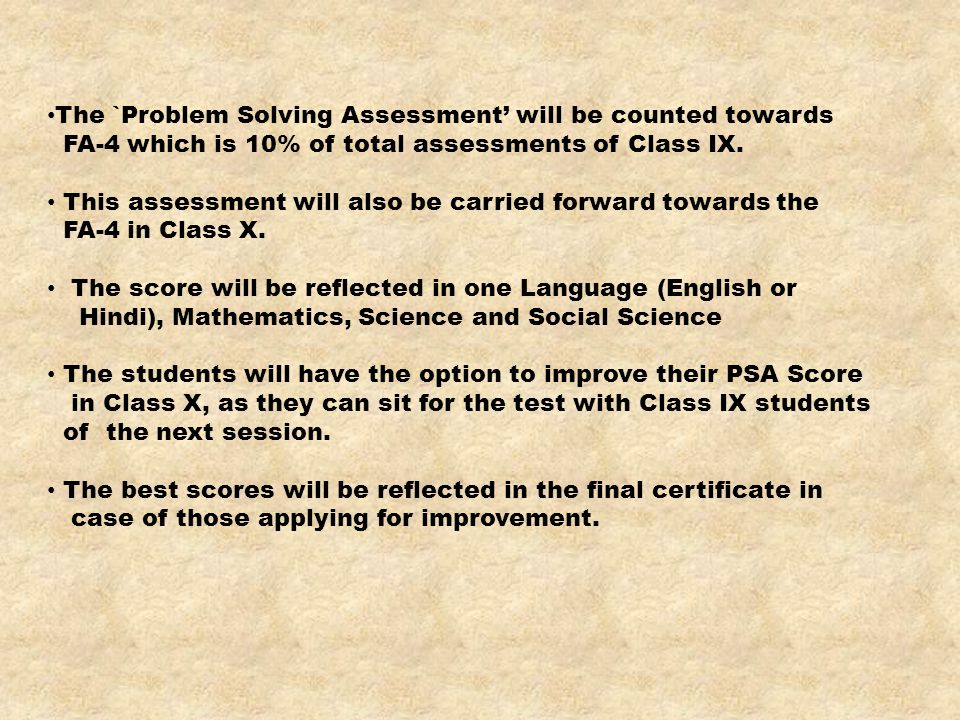 The `Problem Solving Assessment' will be counted towards