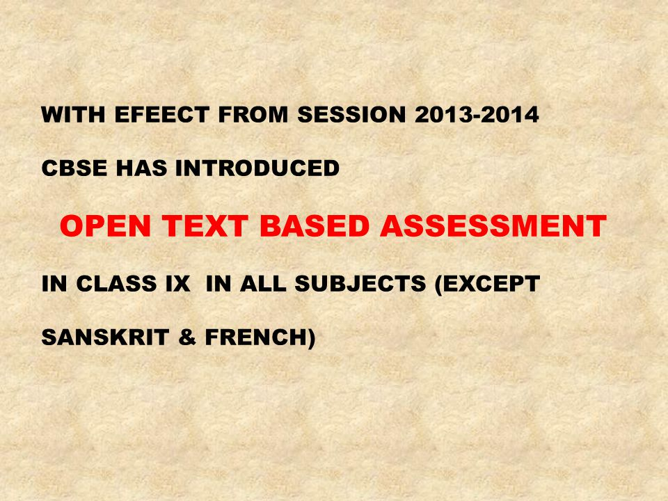 OPEN TEXT BASED ASSESSMENT