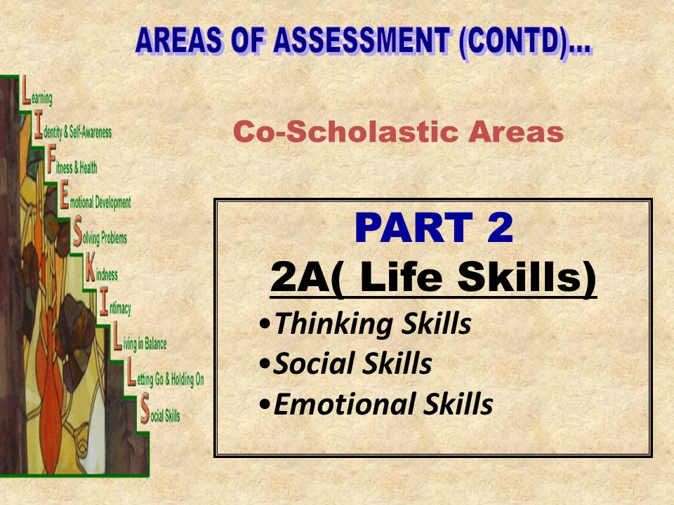 AREAS OF ASSESSMENT (CONTD)...