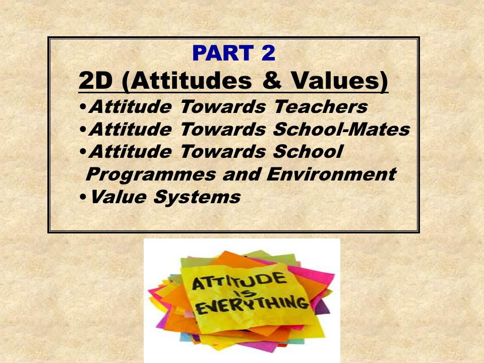 2D (Attitudes & Values) PART 2 Attitude Towards Teachers