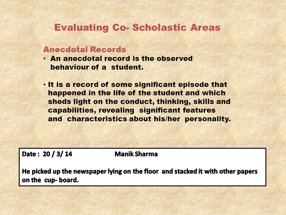 Evaluating Co- Scholastic Areas