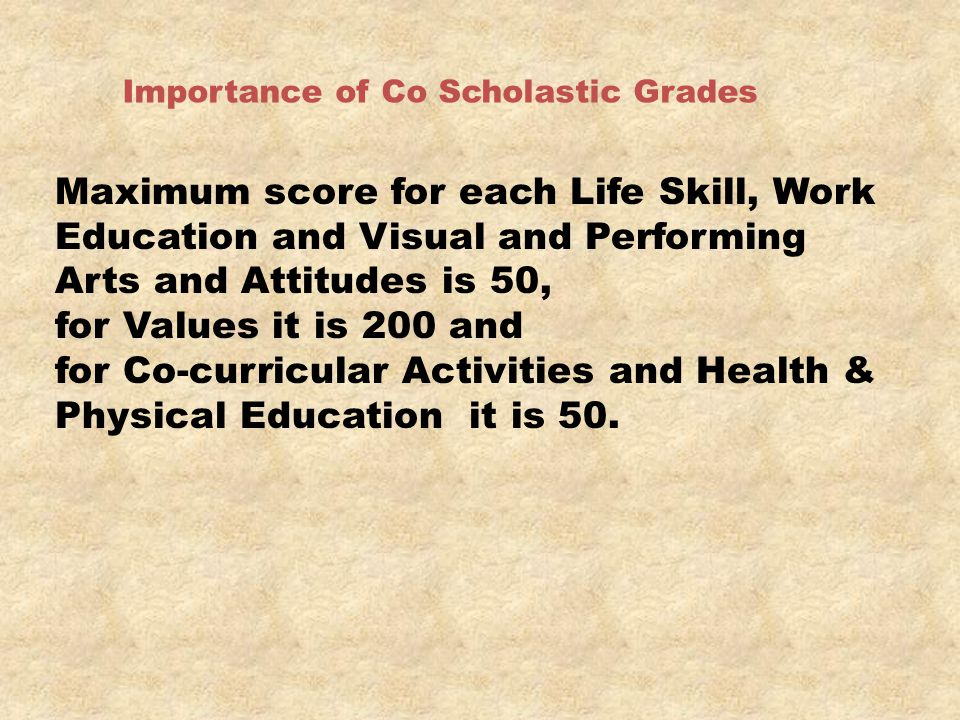 for Co-curricular Activities and Health & Physical Education it is 50.