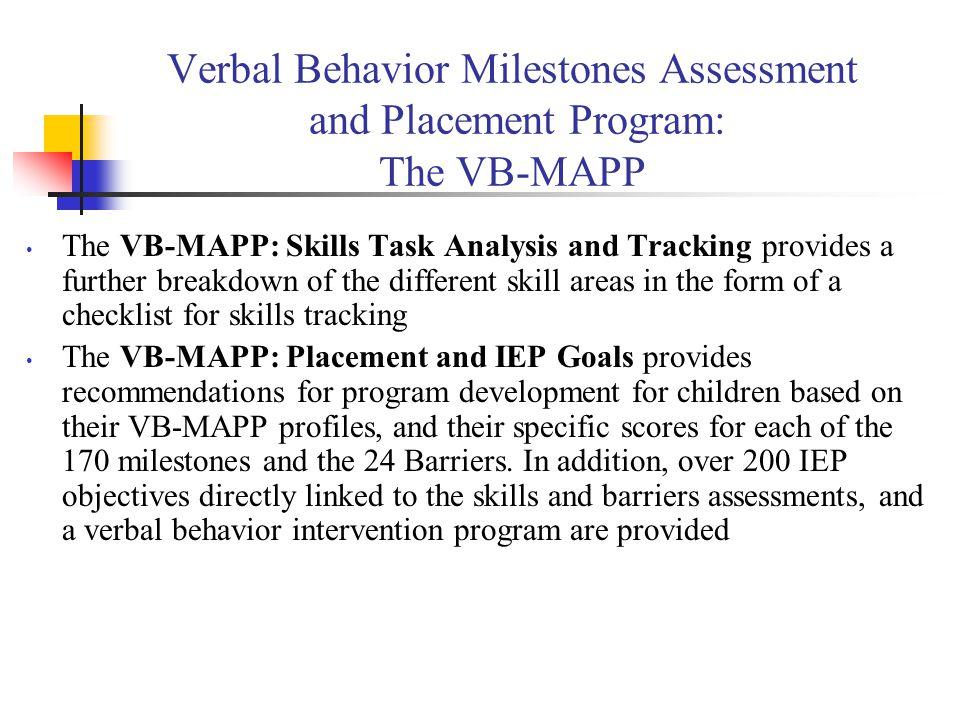 Verbal Behavior Milestones Assessment and Placement Program: The VB-MAPP