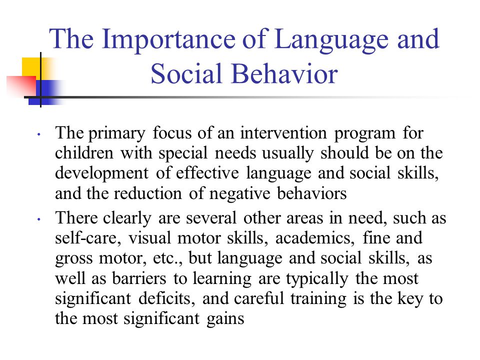 The Importance of Language and Social Behavior