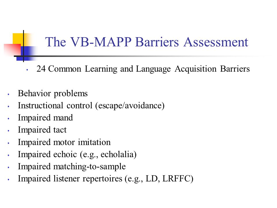 The VB-MAPP Barriers Assessment