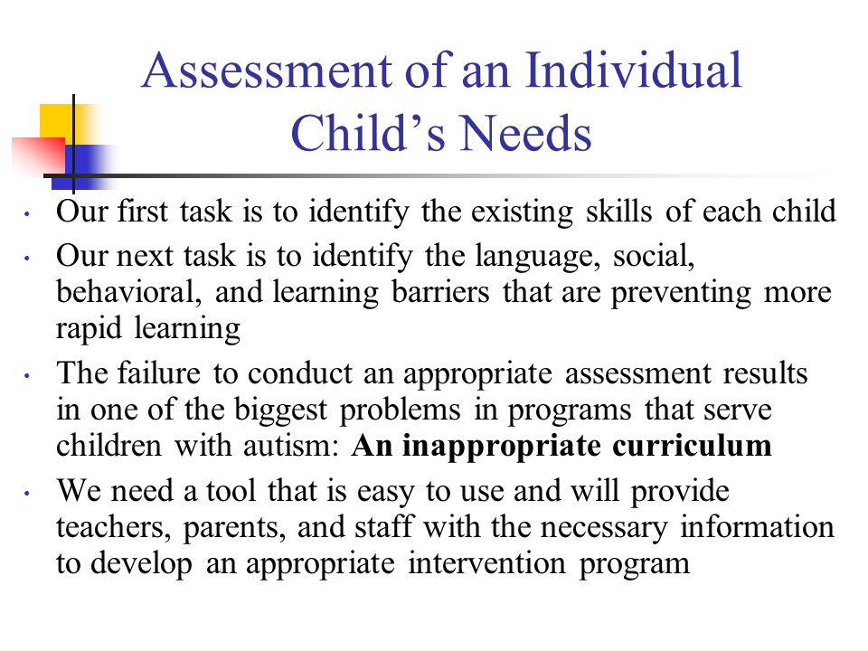 Assessment of an Individual Child's Needs