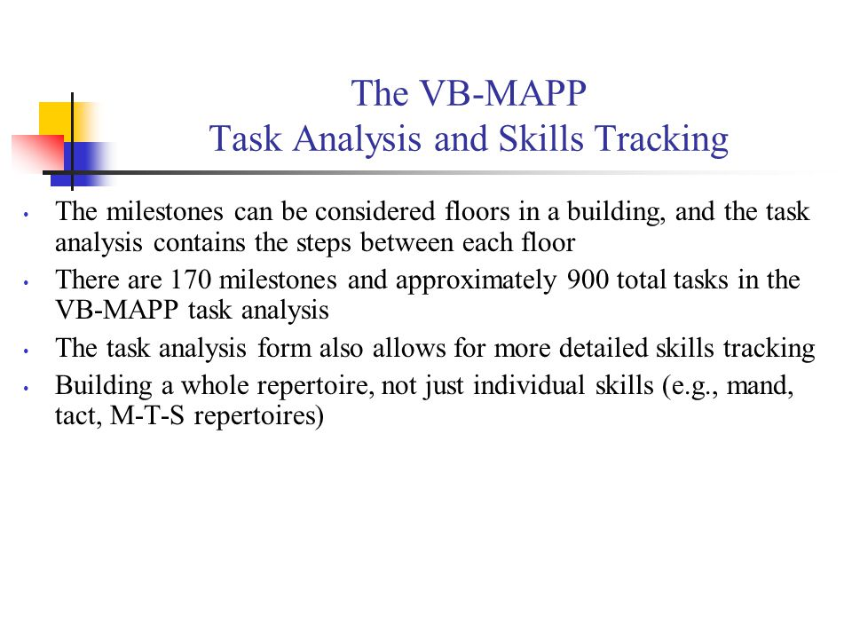 The VB-MAPP Task Analysis and Skills Tracking