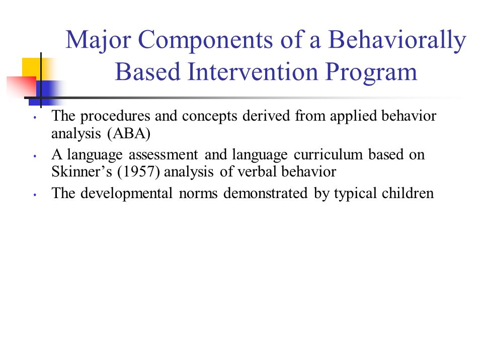 Major Components of a Behaviorally Based Intervention Program