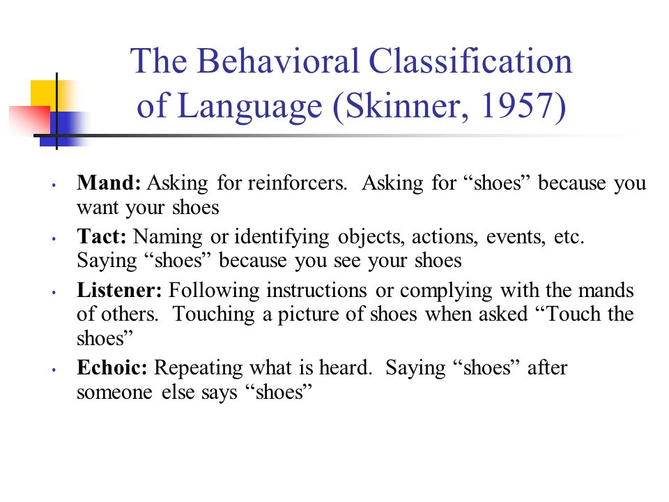The Behavioral Classification of Language (Skinner, 1957)