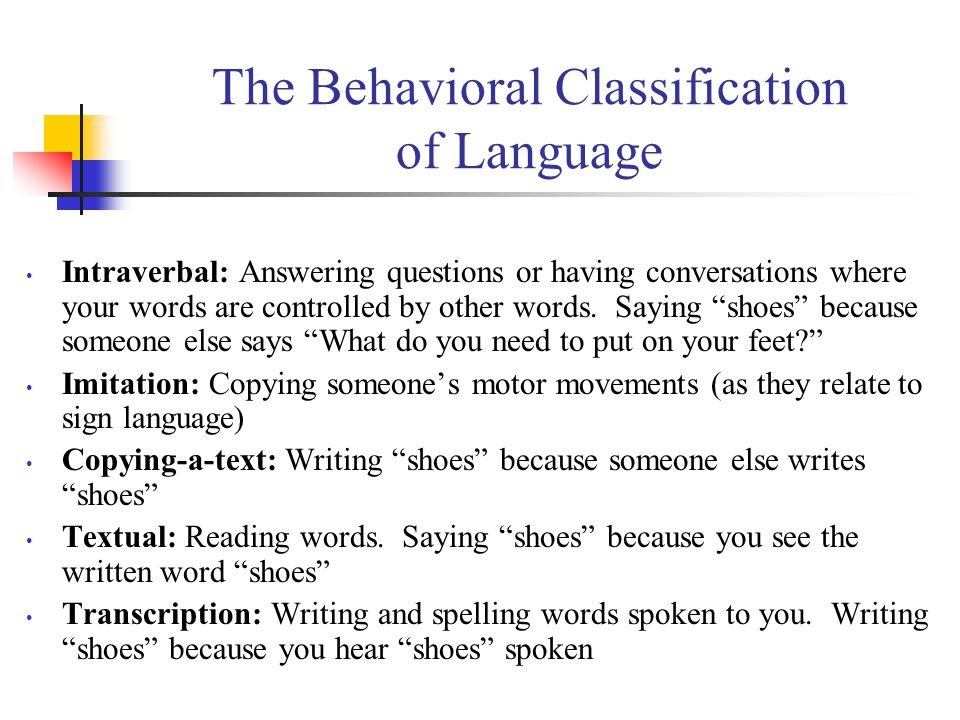 The Behavioral Classification of Language