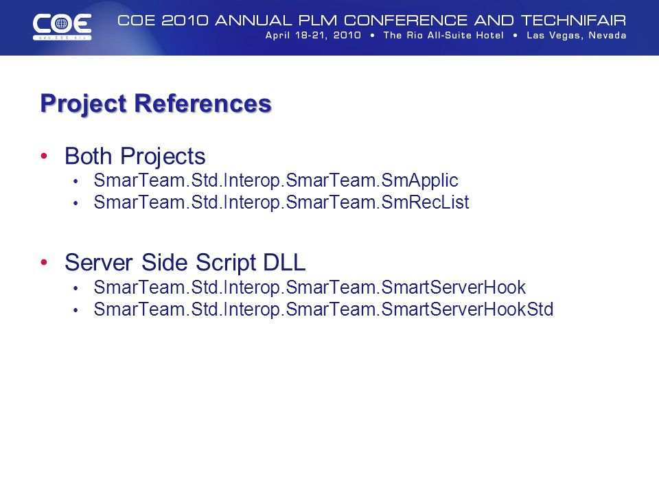 Project References Both Projects Server Side Script DLL