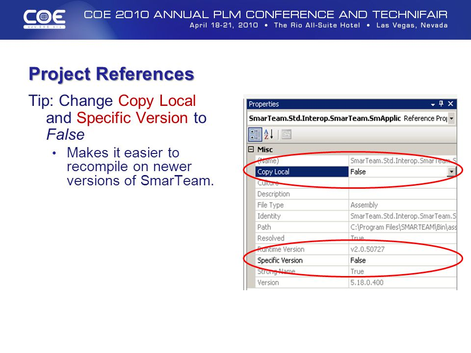 Project References Tip: Change Copy Local and Specific Version to False.