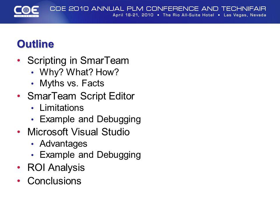 Outline Scripting in SmarTeam SmarTeam Script Editor