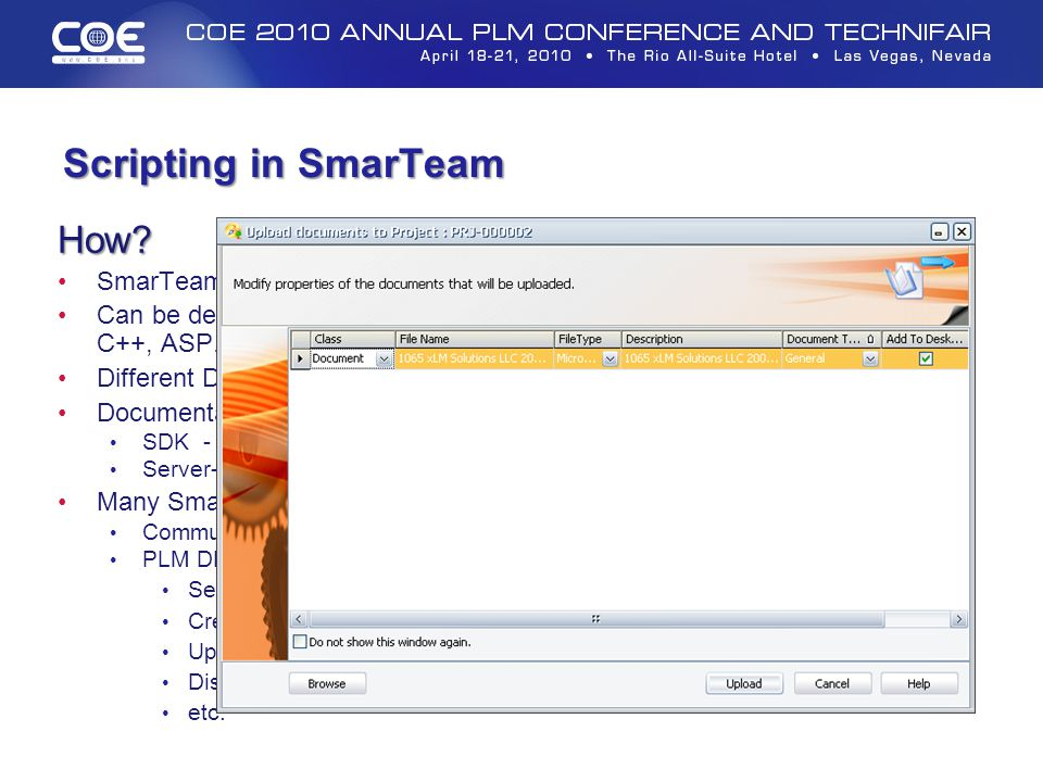 Scripting in SmarTeam How SmarTeam has provided a robust API