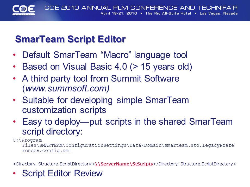 SmarTeam Script Editor
