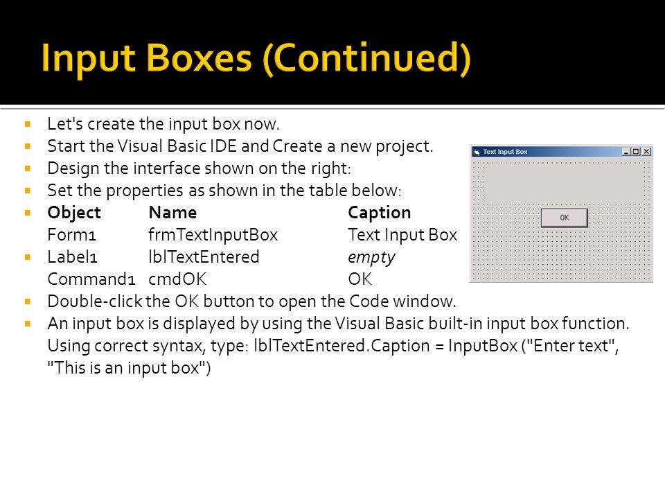 Input Boxes (Continued)