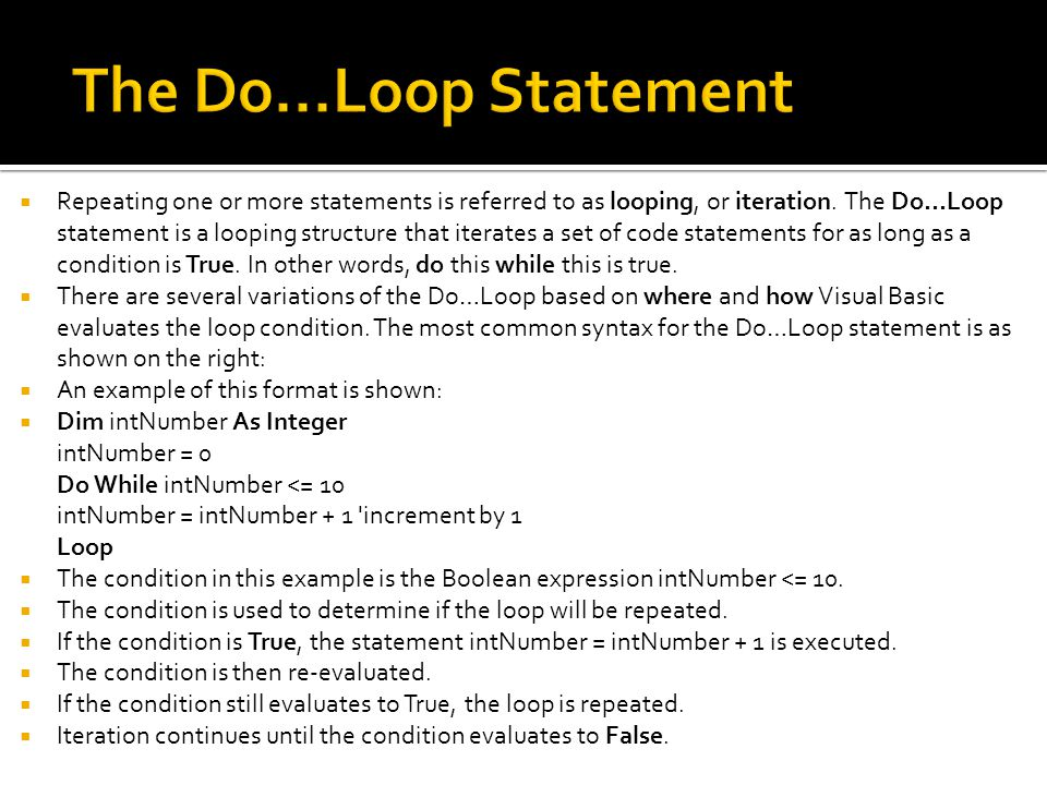 The Do...Loop Statement