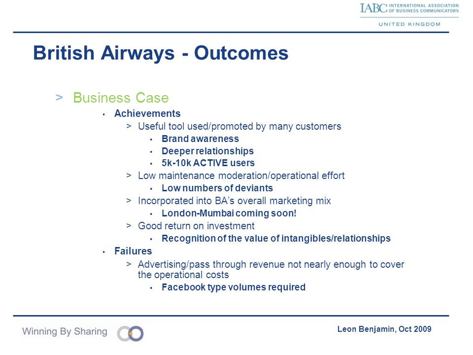 British Airways - Outcomes
