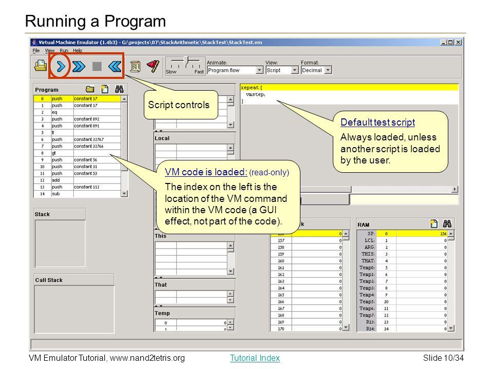 Running a Program Script controls Default test script