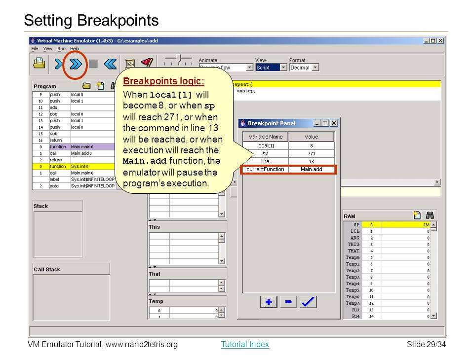 Setting Breakpoints Breakpoints logic: