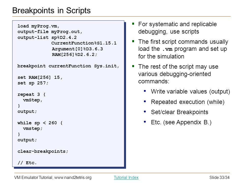 Breakpoints in Scripts