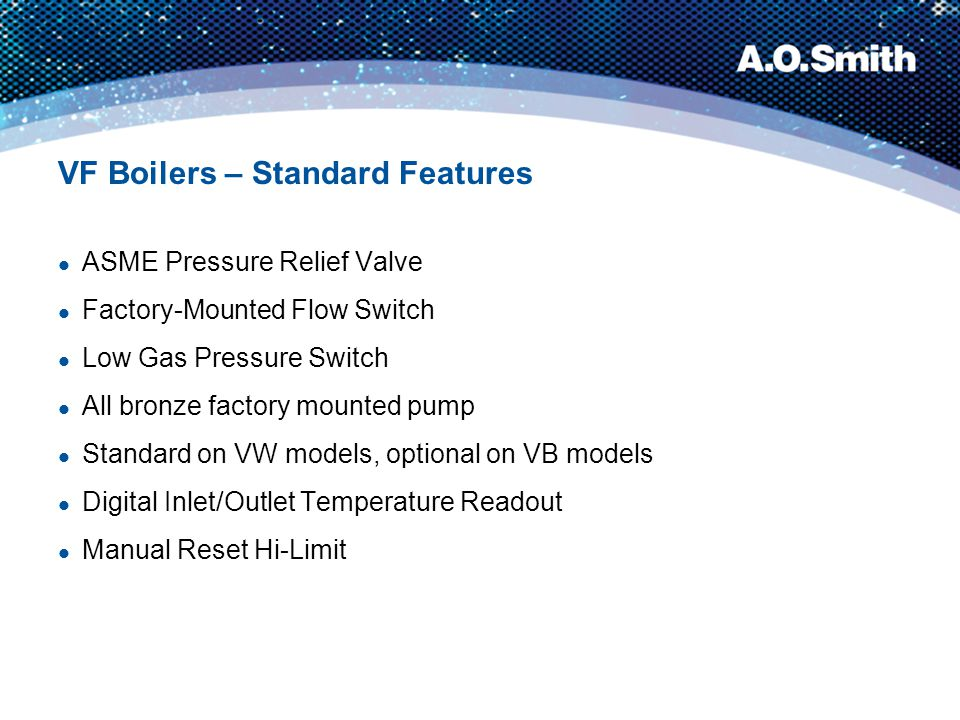 VF Boilers – Standard Features