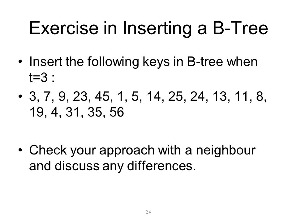 Exercise in Inserting a B-Tree