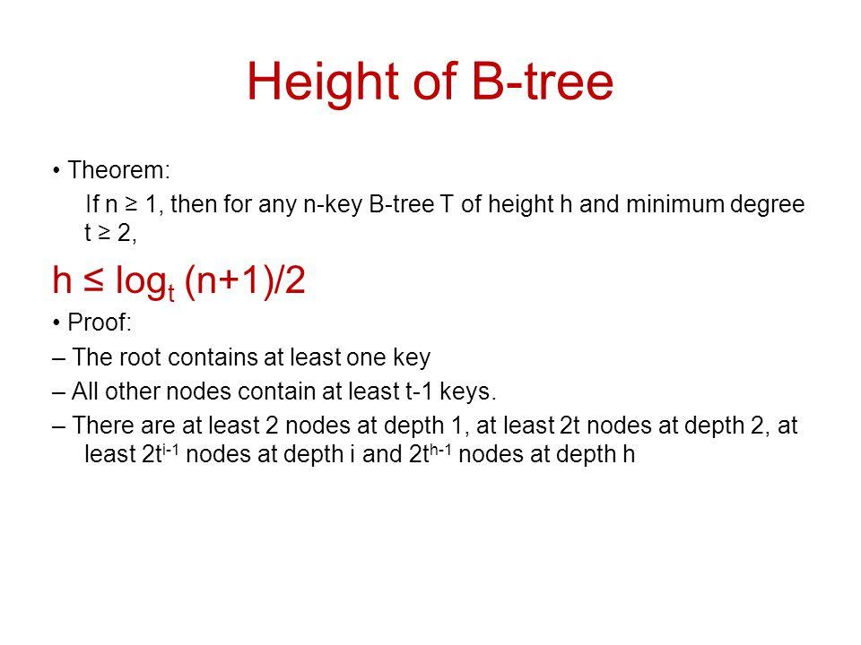 Height of B-tree h ≤ logt (n+1)/2 • Theorem: