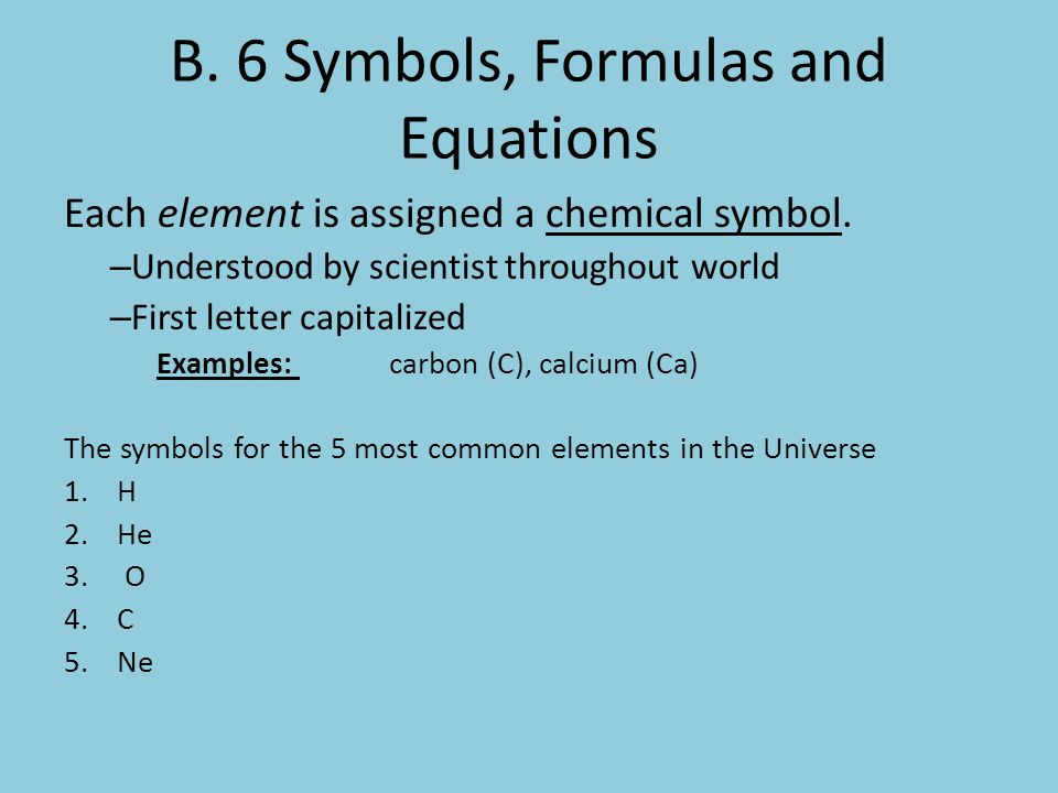 B. 6 Symbols, Formulas and Equations