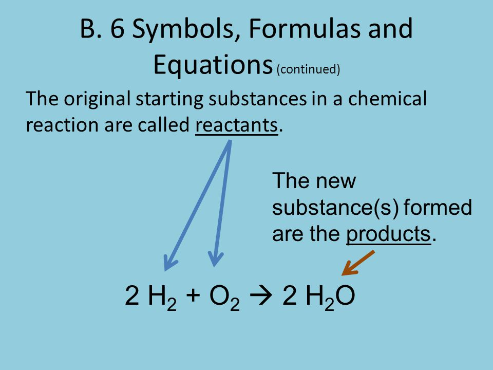 B. 6 Symbols, Formulas and Equations (continued)