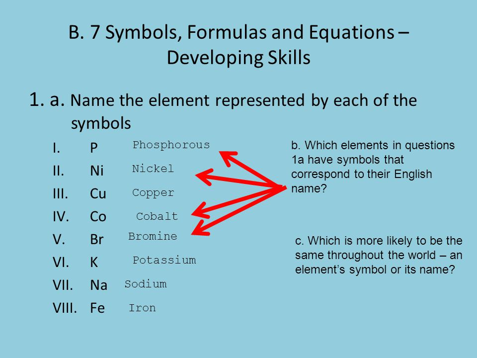 B. 7 Symbols, Formulas and Equations – Developing Skills