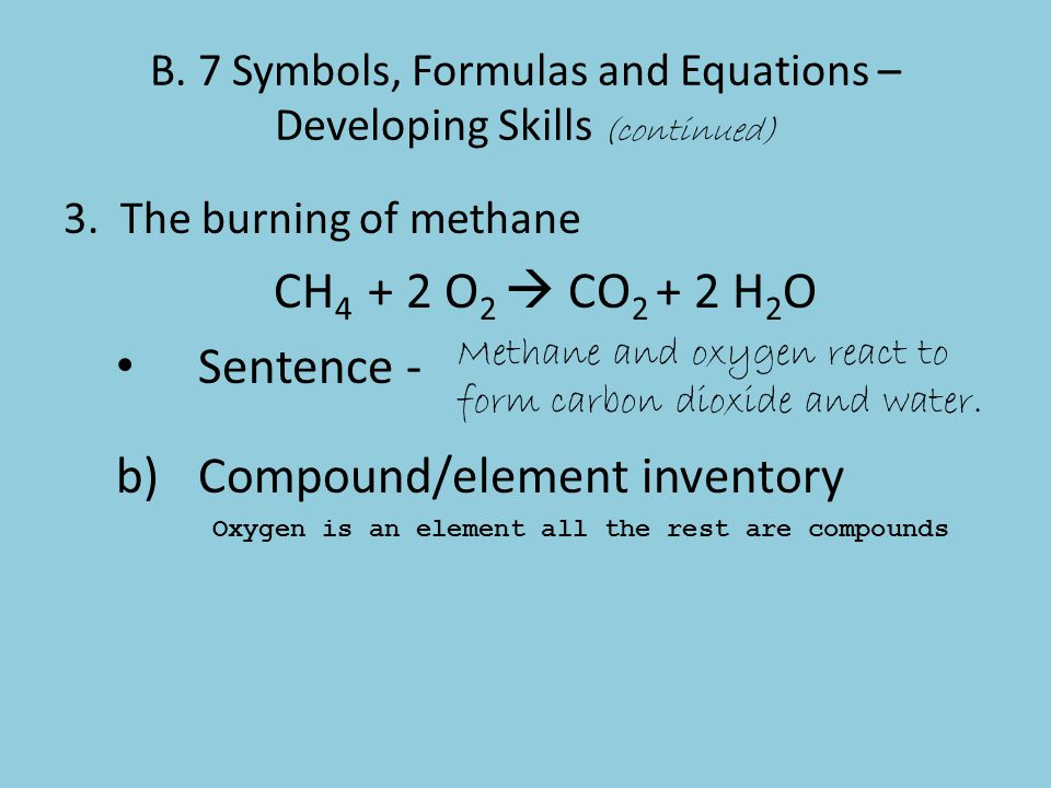 B. 7 Symbols, Formulas and Equations – Developing Skills (continued)