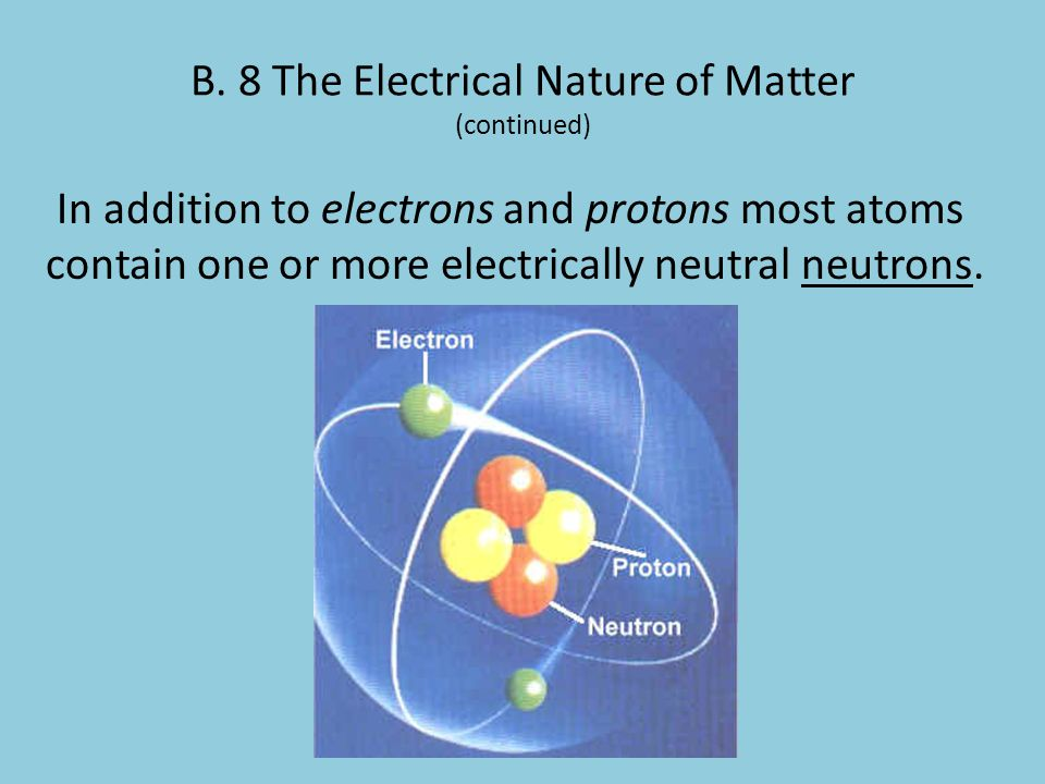 B. 8 The Electrical Nature of Matter (continued)