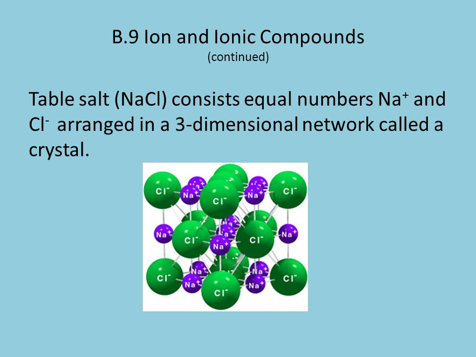 B.9 Ion and Ionic Compounds (continued)