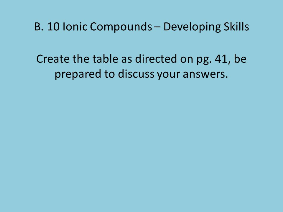 B. 10 Ionic Compounds – Developing Skills