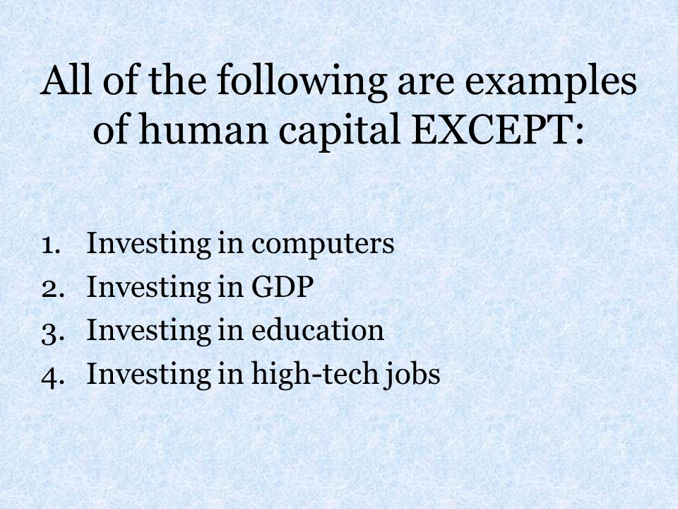 All of the following are examples of human capital EXCEPT:
