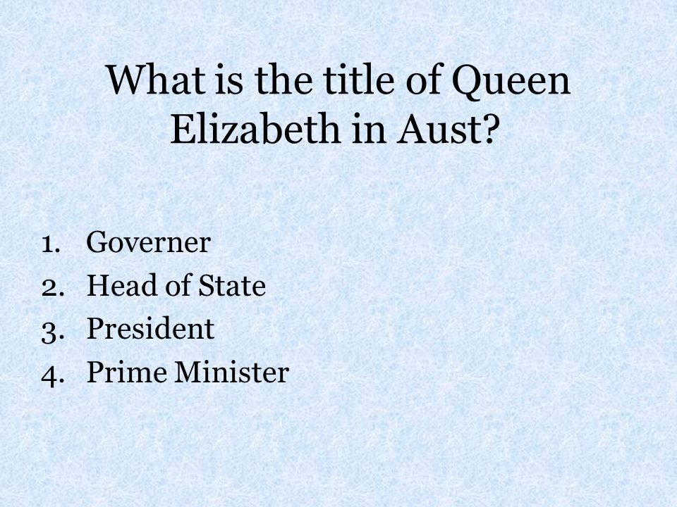 What is the title of Queen Elizabeth in Aust