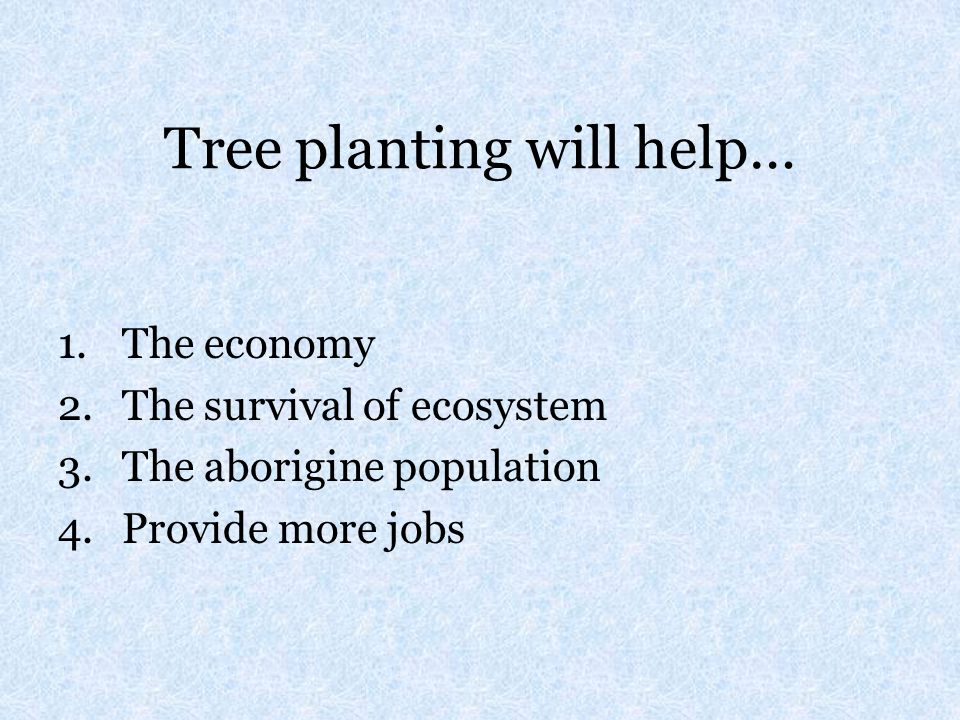 Tree planting will help…