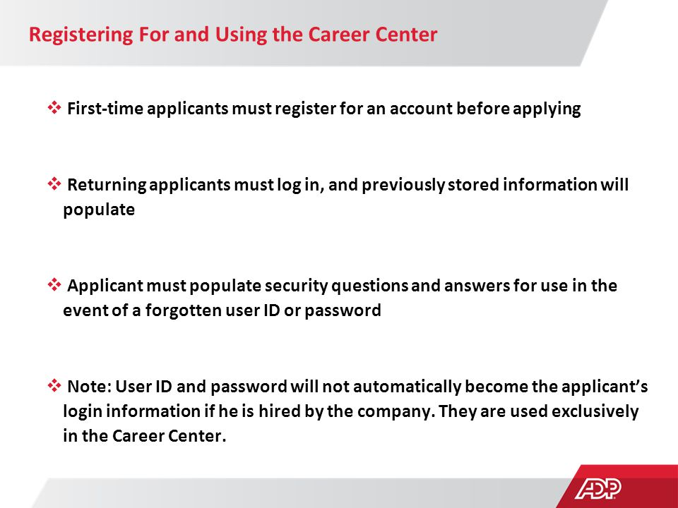 Registering For and Using the Career Center