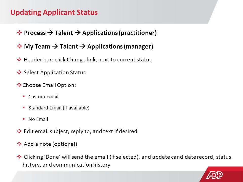 Updating Applicant Status