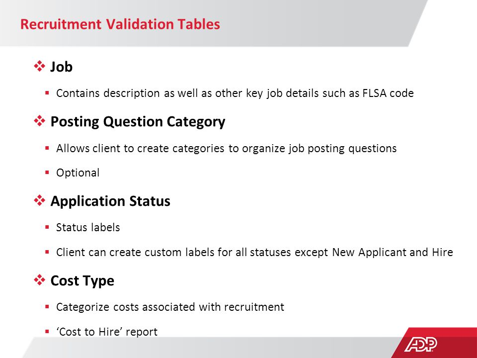 Recruitment Validation Tables