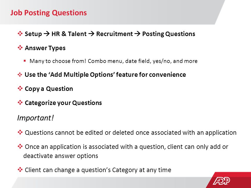 Job Posting Questions Important!
