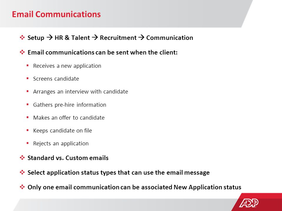 Email Communications Setup  HR & Talent  Recruitment  Communication