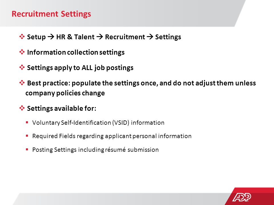 Recruitment Settings Setup  HR & Talent  Recruitment  Settings