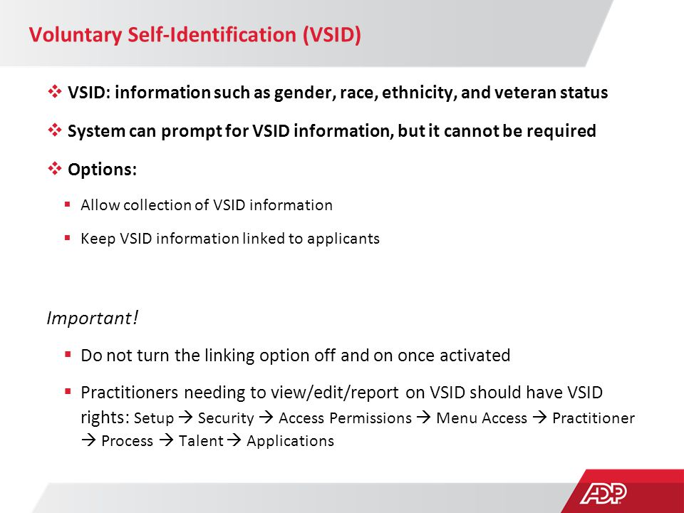 Voluntary Self-Identification (VSID)