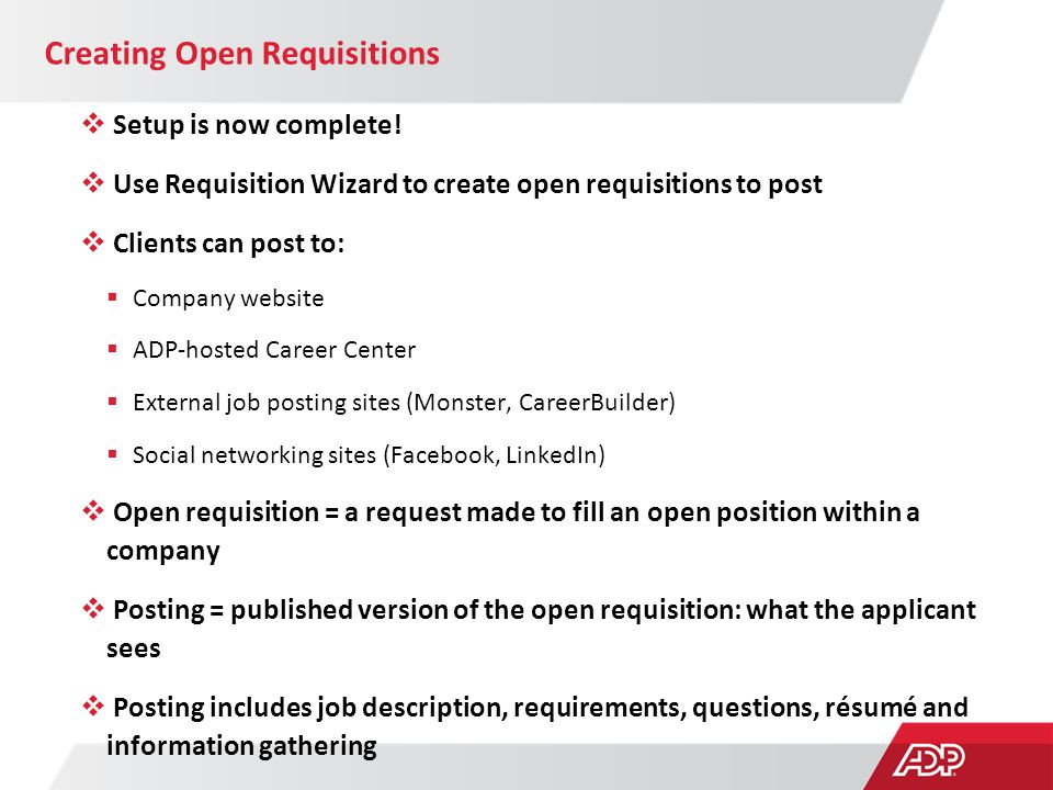 Creating Open Requisitions