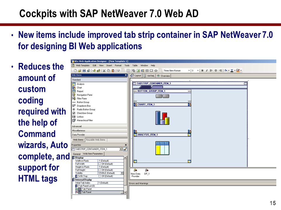 SAP NetWeaver 7.0 Web AD New Features