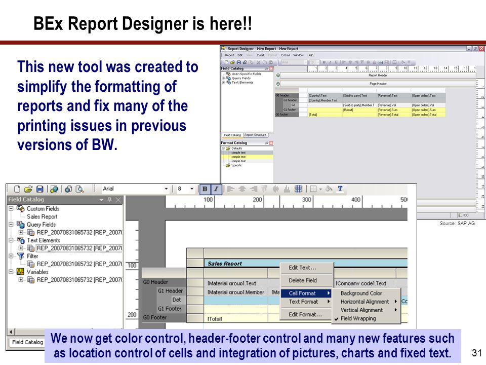 BEx Report Designer is new in BI 7.0